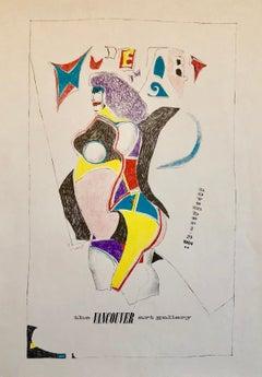 Vintage Modern Lithograph Poster 1960s Pop Art Mod Figure