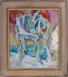 By the Sea - Abstracted Impasto French Antique Chair Seascape by Richard Lofton