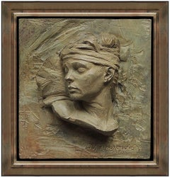 Richard MacDonald Bronze Relief Sculpture Signed Nureyev Bust Fragment Ballet