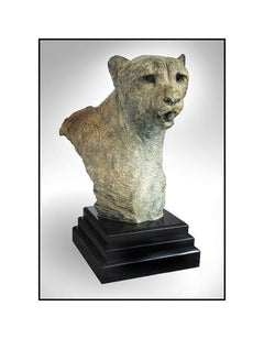 RICHARD MACDONALD Bronze Sculpture LIFE SIZE Samburu Cheetah Bust Signed Artwork