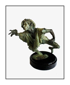 Richard MacDonald Fuite Du Temps Bronze Mime Sculpture Signed Original Artwork