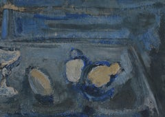 Richard Mandin, Still Life With Bowl And Fruits, Oil on Paper, Circa 1960