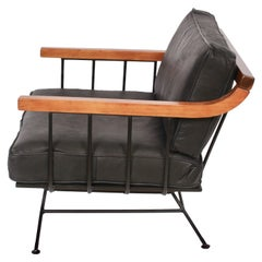 Richard McCarthy for Selrite Wrought Iron, Elm and Black Leather Lounge Chair