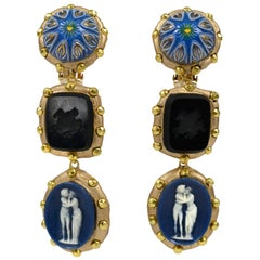 Richard Minadeo Blue Three Tier Cameo Earrings