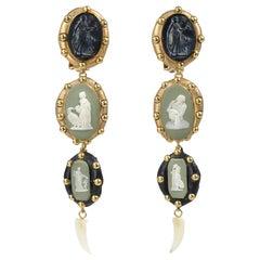 Richard Minadeo Green Wedgewood Cameo Earrings