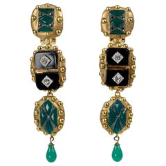 Richard Minadeo Three Tier Green, Onyx, & Crystal Deco Earrings