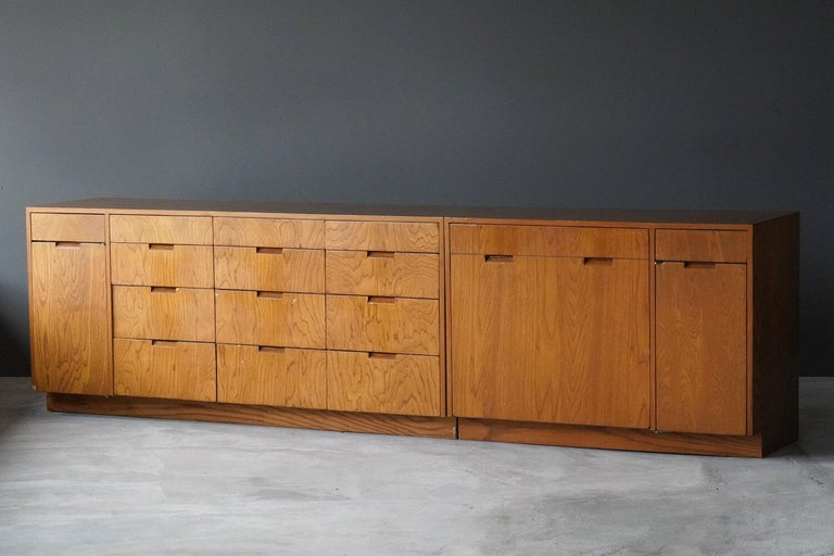 Two unique and sizable cabinets. One chest of drawers, the other featuring laundry-cabinetry. Designed by Richard Neutra for the Brown Sidney House, Holmby Hills, Los Angeles. Detailed provenance available upon request.  Other designers of the
