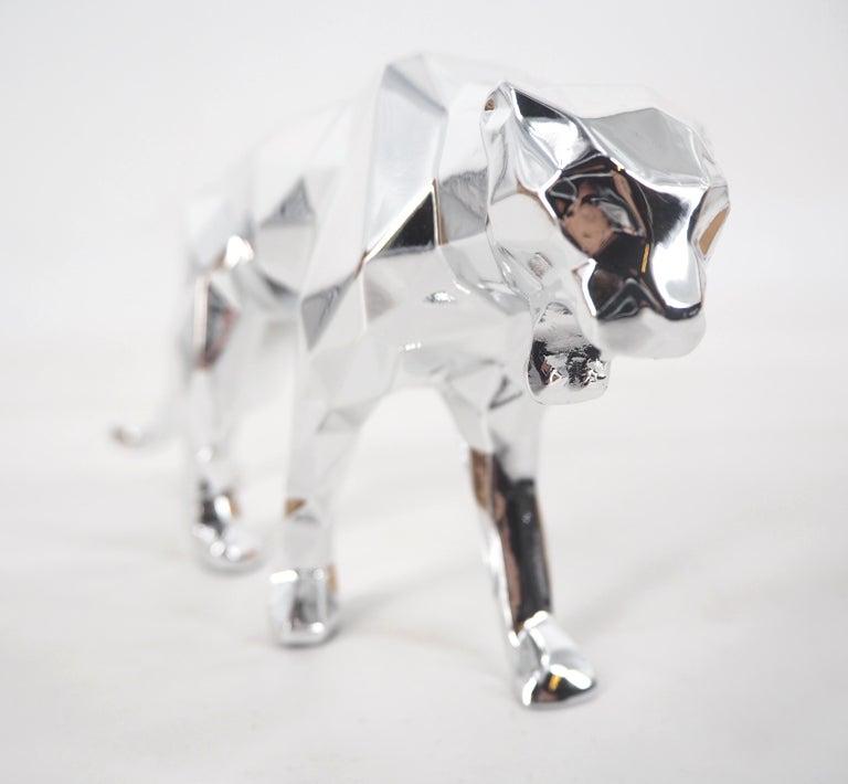 Richard Orlinski Figurative Sculpture - Panther Spirit (Silver edition) - Sculpture
