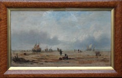 Coastal Landscape, France - British/French 18th century art marine oil painting