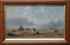 Coastal Landscape, France - British/French 19th century art marine oil painting