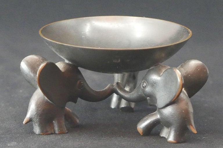 Blackened Richard Rohac Small Elephant Pedestal Bowl For Sale