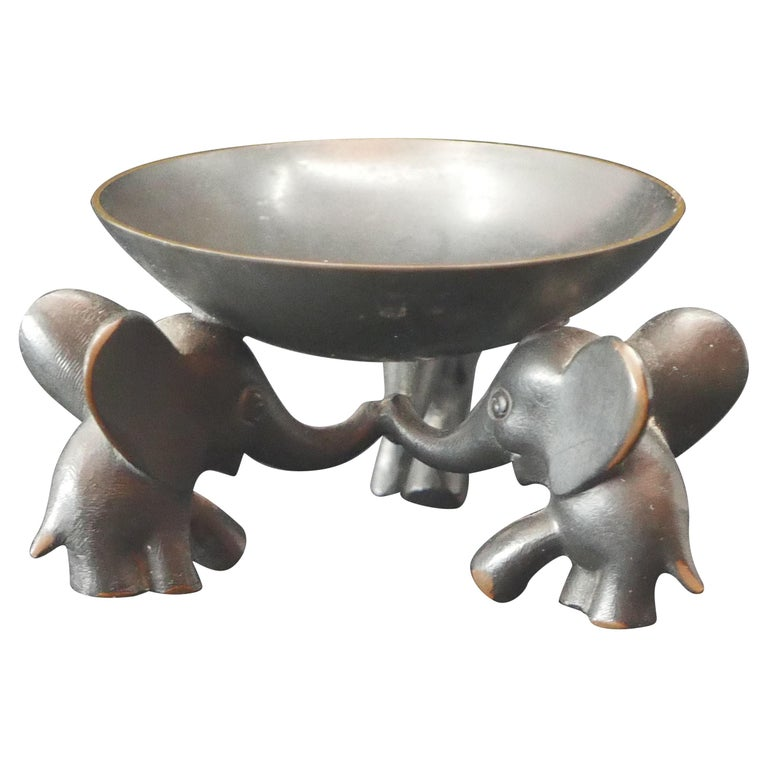 Richard Rohac Small Elephant Pedestal Bowl For Sale