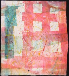 Homage a Sam Francis, Folded Monoprint Mixed Media Splatter Painting Art Print