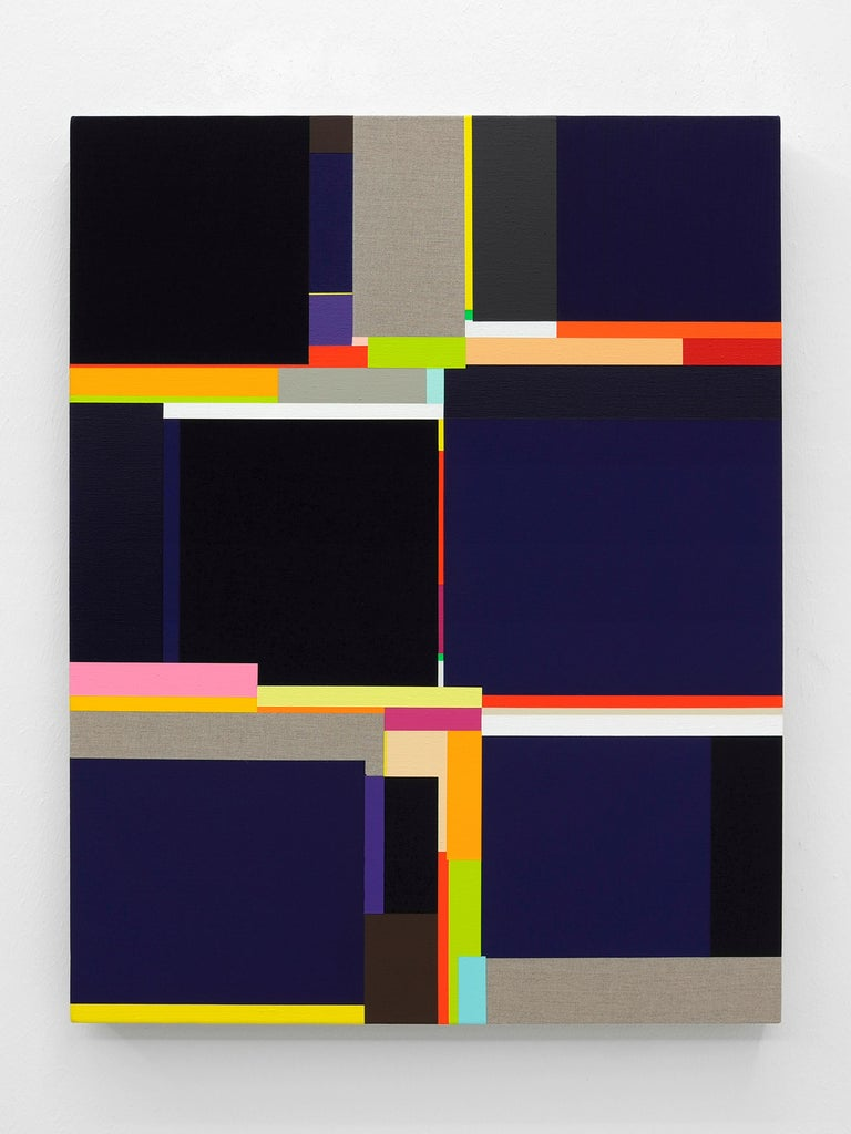 """Richard Schur Abstract Painting - """"Passenger"""" Blues and blacks in a colorful geometric squeeze with raw linen"""
