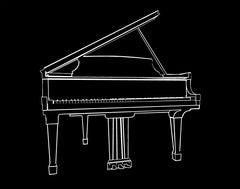 Grand Piano, Hand Printed Work, Screen