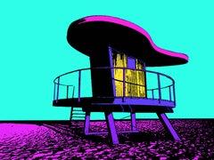 Miami Beach Lifeguard Stand #5. In - Cyan, Screen Print