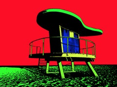 Miami Beach Lifeguard Stand #6. - In Red, Hand Printed Work, Screen