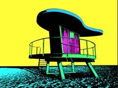 Miami Beach Lifeguard Stand #8. - In Yellow, Screen Print