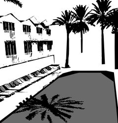 Miami Beach Pool - In B&W, Hand Printed Work, Screen