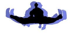 Triple Black Belt Jump - In Lavender With Black On, Hand Printed Work, Screen