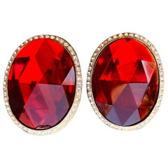 "Richard Serbin 1984 Huge Oval Runway Clip On Earrings with Red ""Crystal"""