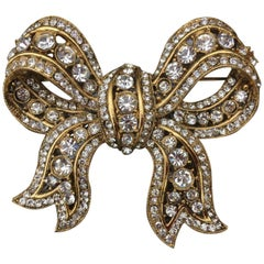 Richard Serbin Large Gold and Crystal Bow Brooch Pin 1985