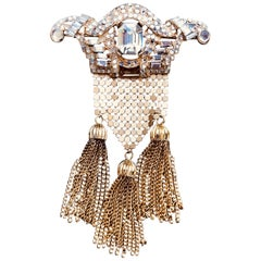 Richard Serbin Matt Gold and Crystal Brooch Pin with Mesh and Tassel Drops 1985
