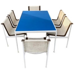 Richard Shultz for Knoll Outdoor Dining Set, Blue Enamel Table, 6 Chairs