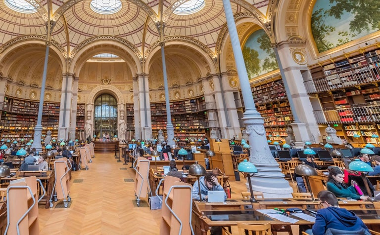 Labroust Reading Room, Paris - color photography - Brown Color Photograph by Richard Silver