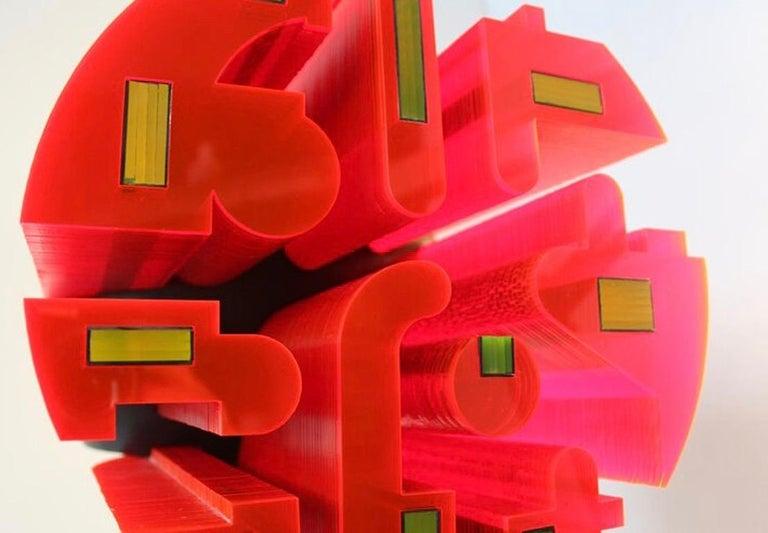 Baraka - contemporary mixed media red abstract sculpture  - Contemporary Sculpture by Richard Slee
