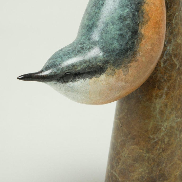 'Nuthatch' is a gorgeous Bronze Bird sculpture by the hugely talented Wildlife sculptor Richard Smith. It is a small piece, measuring only 6.25