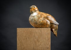 Contemporary Bronze Bird Wildlife Sculpture 'Perch Partridge' by Richard Smith