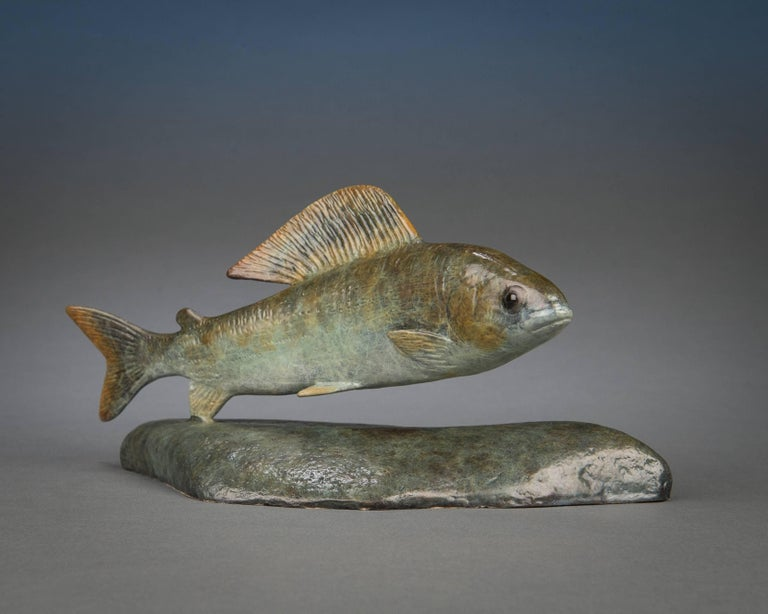 Contemporary Bronze Wildlife Fish Sculpture 'Grayling' by Richard Smith - Gold Still-Life Sculpture by Richard Smith b.1955