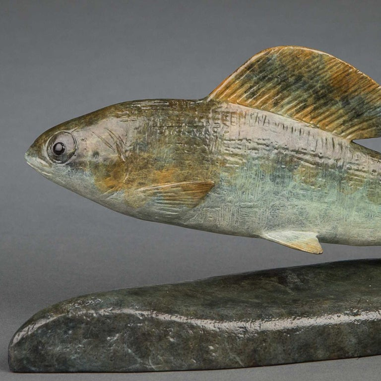 A beautiful wildlife sculpture of a 'Grayling' the perfect gift for a wildlife lover or fishing and hunting enthusiast.  Richard Smith has gained an international reputation for his works of art, he has exhibited at prestigious galleries such as the