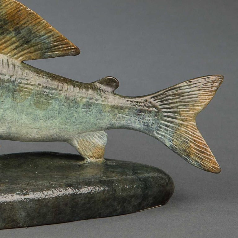 Contemporary Bronze Wildlife Fish Sculpture 'Grayling' by Richard Smith For Sale 1