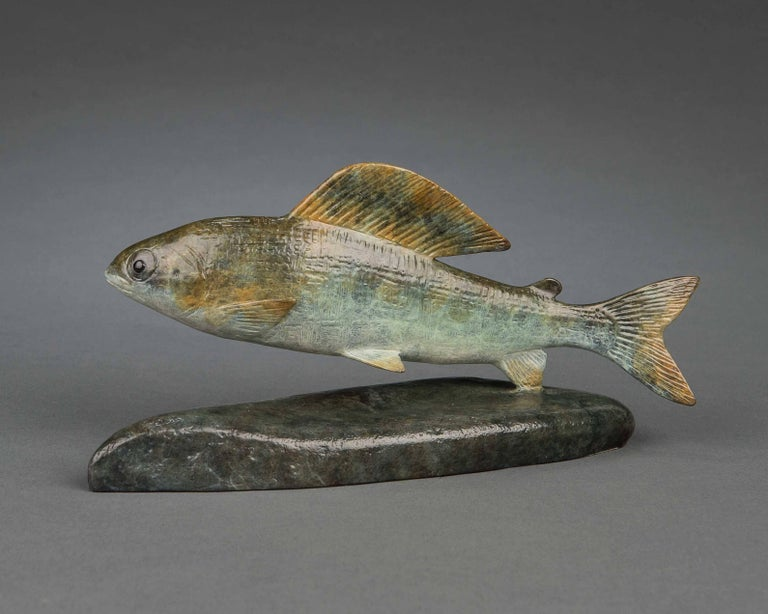 Richard Smith b.1955 Still-Life Sculpture - Contemporary Bronze Wildlife Fish Sculpture 'Grayling' by Richard Smith
