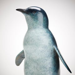 Contemporary Bronze Wildlife Penguin Sculpture 'Little Blue' by Richard Smith