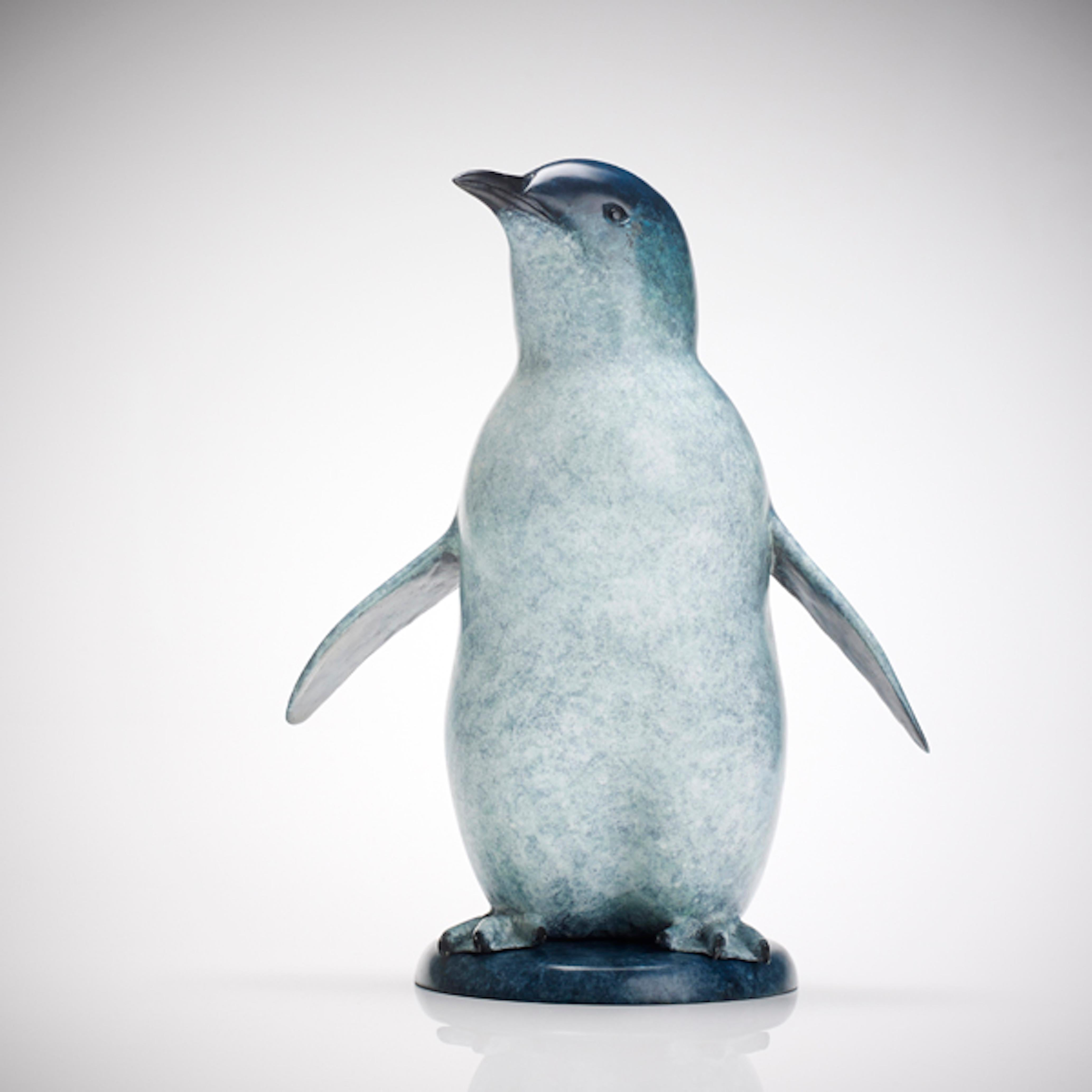 Contemporary Bronze Wildlife Penguin Sculpture 'Little Blue' by Richard Smith