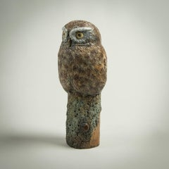 Contemporary Solid Bronze Wildlife Sculpture 'Little Owl' by Richard Smith
