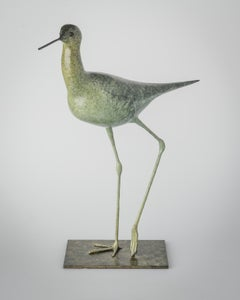 Contemporary Wildlife Bronze Patinated Green Sculpture 'Stilt' by Richard Smith