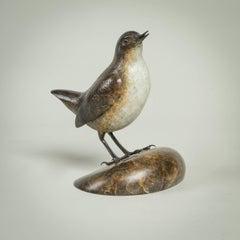 'Dipper' Solid Bronze Modern Bird Sculpture, British Wildlife & Nature