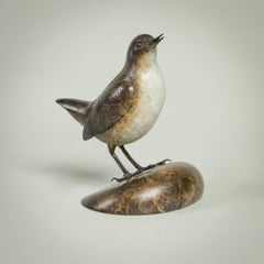 'Dipper' Solid Bronze Modern Bird Sculpture, British Wildlife & Nature