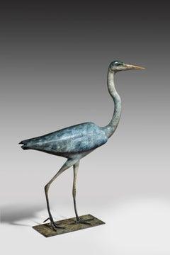'Heron' Solid Bronze Bird. Modern British Wildlife & Nature Sculpture by R Smith