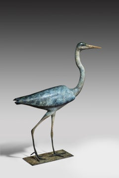 'Heron' Solid Bronze Bird. Modern British Wildlife & Nature Sculpture by R Smith
