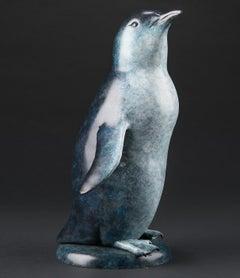 'Little Blue' Solid Bronze Penguin. Modern British, Wildlife & Nature Sculpture