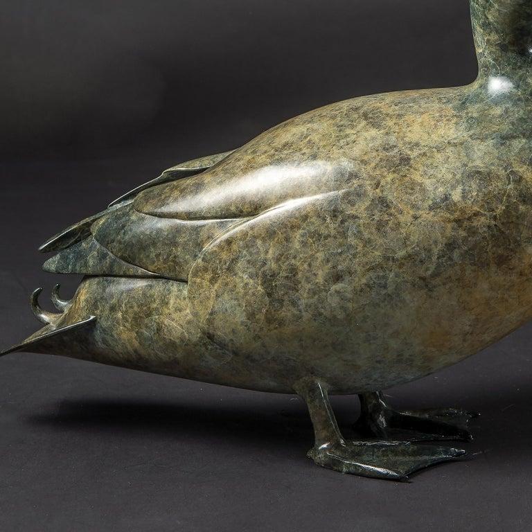 'Mallard' Solid Bronze Duck. Modern British, Wildlife & Nature Sculpture For Sale 2