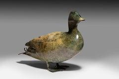 'Mallard' Solid Bronze Duck. Modern British, Wildlife & Nature Sculpture