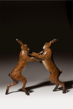 'Moondance' Solid Bronze Hare Wildlife & Nature Sculpture by Richard Smith