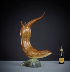 'Otter in Pursuit' Contemporary Bronze Animal Sculpture Nature & Wildlife