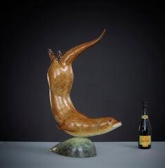 'Otter in Pursuit' Contemporary Bronze Animal Sculpture Nature & Wildlife